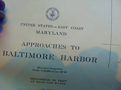 "Map water approaches to Baltimore Harbor prepared by U.S. Coast Guards 36"" x 45"""