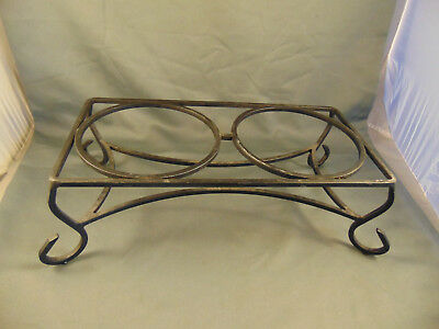 "Black wrought iron table top twin plant holder hot dish server 5"" h x 15 1/2"" w"