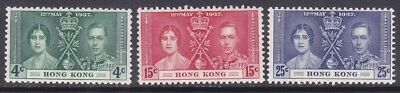 Hong Kong 151-53 Mint OG 1937 Coronation Full Set Very Fine - Fresh Set