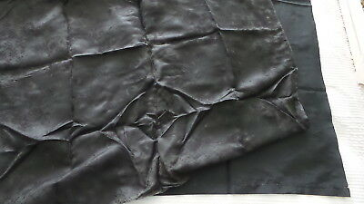 2 Antique Fabric Pieces MOURNING BLACK Plain & Floral on Black