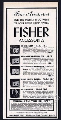 1953 Fisher stereo mixer fader preamp etc 5 models photo vintage print ad