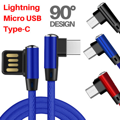 Braided Micro Elbow USB Fast Charging Cable Cord Sync for Android iPhone Samsung