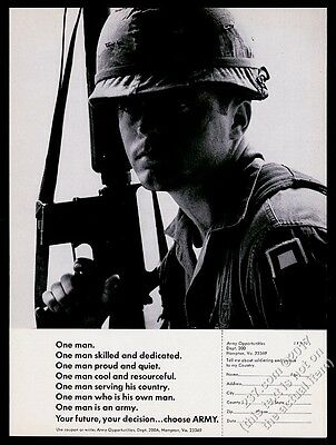 1970 US Army soldier with M-16 photo vintage recruitment print ad