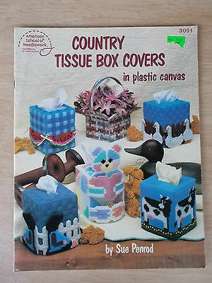Plastic Canvas Country Tissue Box Covers~ASN #3051~12 Designs in 7-Mesh~1988