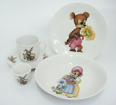 Seltmann Weiden Porcelain Childrens Place Setting Plate Bowl Cup Saucer Animals