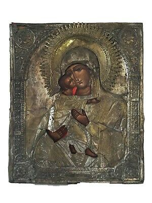 "OLD RUSSIAN ICON OF MOTHER OF GOD HOLDING JESUS 17""x14"