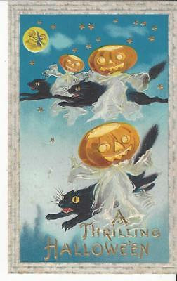 Halloween Postcard Cats Ghost Pumpkins flying embossed color gilt no writings