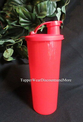TUPPERWARE NEW Sparkling Starlight Lipstick Red 16 oz Tumbler Cup FLIP Top Seal