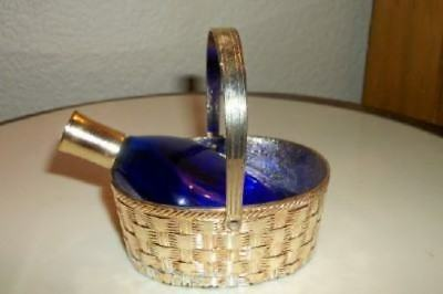 Antique Cobalt Glass Perfume Bottle in Silver Plated Basket Japan Chic Shabby