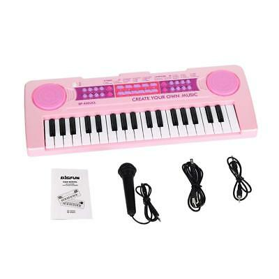 Kids Electronic Keyboard 37 Key Piano Musical Toy w/ Microphone Pink Girls