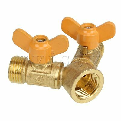 Brass 2 Way Y Piece Tap Connector Outlet for Two Hoses with Separate Valves
