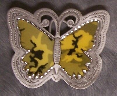 Pewter Belt Buckle Desert Camouflage Butterfly NEW