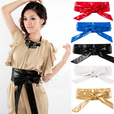 Lady Womens Leather Wide/Thin Dress Belt Elastic Stretch Buckle Waist Band Belts