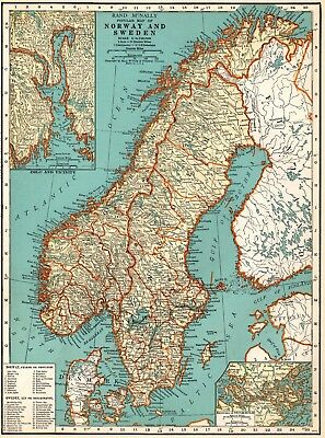 1939 Vintage NORWAY & SWEDEN Map Antique Map of Sweden Gallery Wall Art 5999