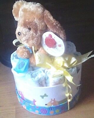 UNISEX BABY KEEPSAKE GIFT BOX / NAPPY CAKE-With Lucky Sixpence & Keel Toys Puppy
