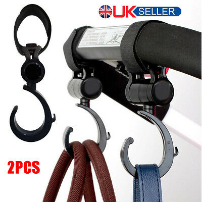 Buggy Hooks x2 - Large Pushchair Shopping Bag Hook 360° Rotatable Carry Clips