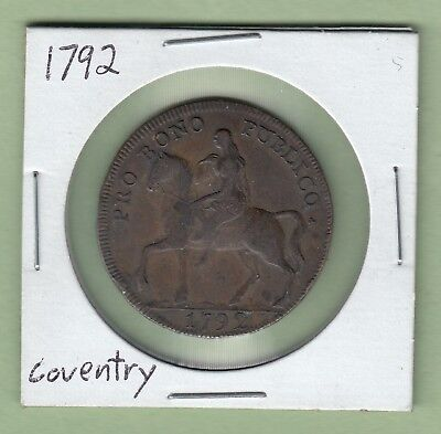 1792 Coventry 1/2 Penny Token - Lady Godiva Riding a Horse