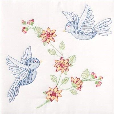 "Jack Dempsey Stamped White Quilt Blocks 18""x18"" 6/pkg-birds"