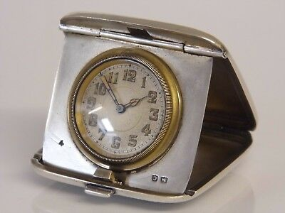 Superb Working Antique Art Deco Solid Silver Miniature Pocket Travel Clock 1927