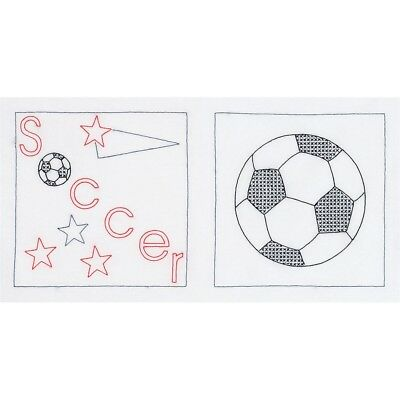 "Jack Dempsey Stamped Themed Quilt Blocks 14""x14"" 6/pkg-soccer"