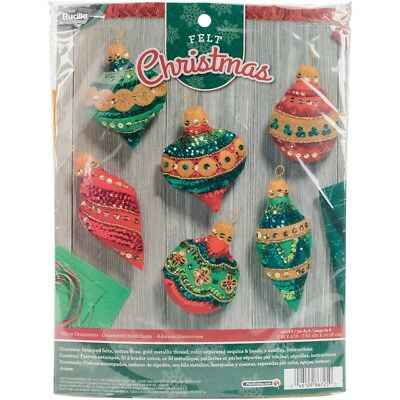 "Bucilla Felt Ornaments Applique Kit 3""x4"" Set Of 6-glitzy"