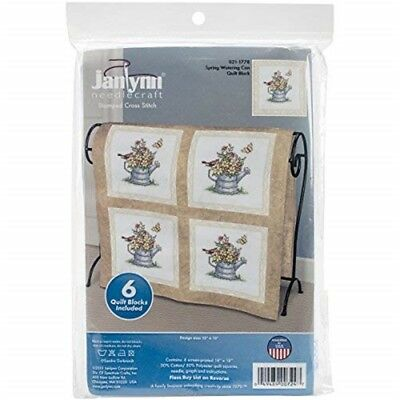 "Janlynn Stamped Cross Stitch Quilt Blocks 15""x15"" 6/pkg-spring Watering Cans"