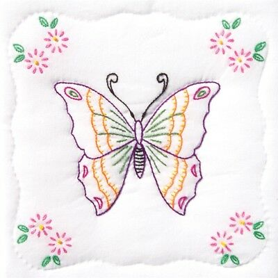 "Jack Dempsey Stamped White Quilt Blocks 9""x9"" 12/pkg-butterfly"