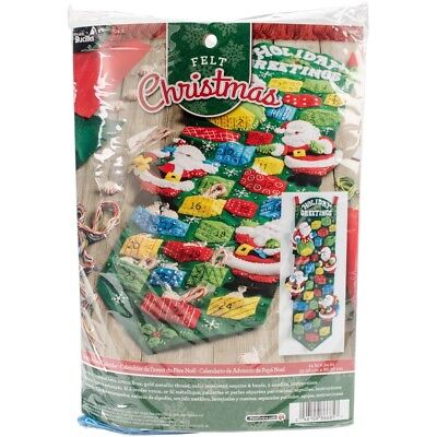 "Bucilla Advent Calendar Felt Applique Kit 9""x34""-santa"