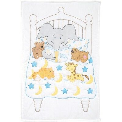"Jack Dempsey Stamped White Quilt Crib Top 40""x60""-bedtime Stories"