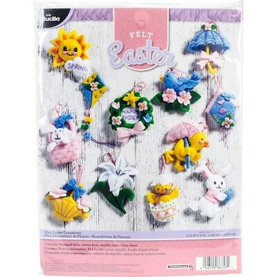 "Bucilla Felt Ornament Applique Kit 1.75""x2"" Set Of 12-easter"