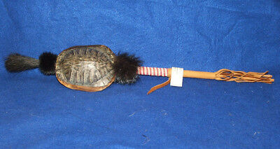 "16"" long Turtle Shell Rattle w Horse Hair & Bead Wrap Native American WF22"