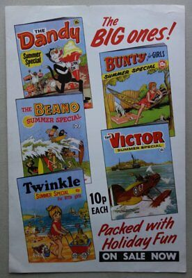 Beano, Dandy, Bunty, Victor comic SUMMER SPECIAL POSTER 1972 RARE (phil-comics)
