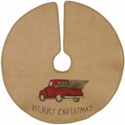 New Primitive Rustic VINTAGE RED TRUCK Burlap Christmas Tree Skirt Mini 16""
