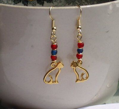 Egyptian Revival Cat Goddess Red and Blue Glass Gold Plated Earrings