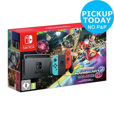 Nintendo Switch Neon Red/Blue Console & Mario Kart 8 Deluxe Bundle