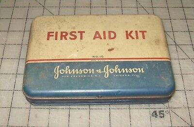 Vintage JOHNSON & JOHNSON FIRST AID KIT Metal Tin #16 with Some Contents inside