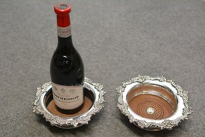 Pair ANTIQUE Georgian WINE COASTERS - LARGE SIZE - Sheffield plate. Wooden bases