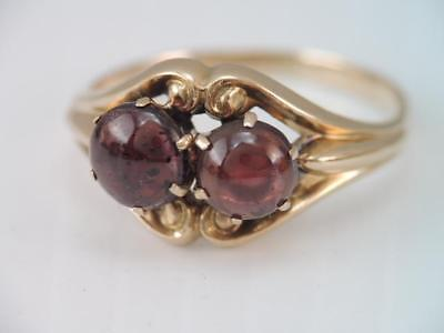 Antique Art Nouveau 14K Rose Gold 2 Garnet Cab Stone Ring Church & Co