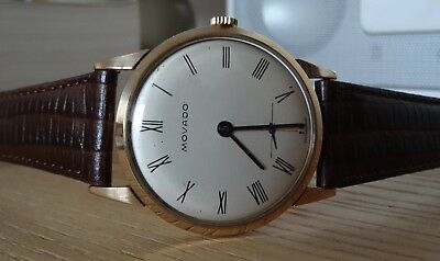 1959 Vintage Movado 9K Solid Gold Gent's Watch 17J Swiss Made Roman Numerals