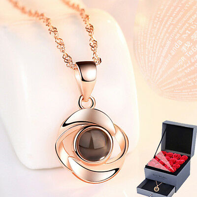 925 Silver 100 Languages Light I Love You Projection Pendant Memory Necklace CO