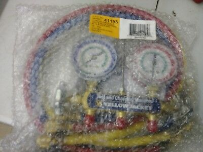 Yellow Jacket 41195 2 Valve Manifold Red & Blue Gauges R-12 R-22 R-502