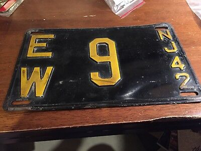 Vintage License Plate New Jersey NJ 1942  Low Number