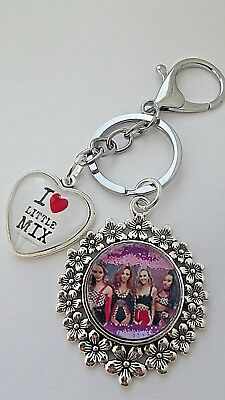 Little Mix 1 Love Heart Flower Key Ring Strong Chain Silver Gift Box  Party