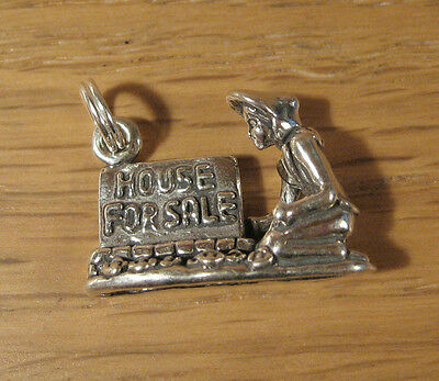 House for Sale Sign Charm Pendant .925 Sterling Silver Real Estate Gift Jewelry