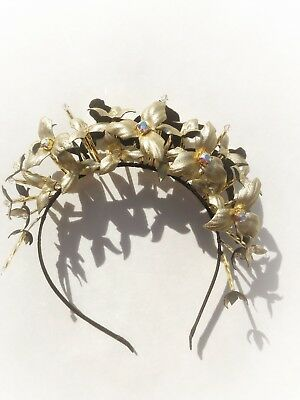 Gold Leather Headband, Wedding Floral Headpice, Leather Crystal Crown