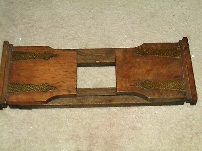Antique English Wood & Hammered Brass Hinges Book Stand Holder Slide