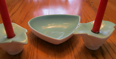 Vintage Royal Haeger Compote Bowl + Matching Candleholders Cotton White Turquois