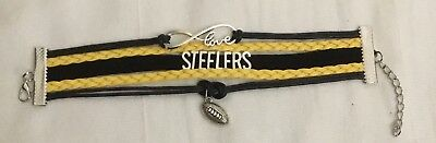 NFL Pittsburgh Steelers Bracelet Football Infinity Love Rope Charm Team Jewelry