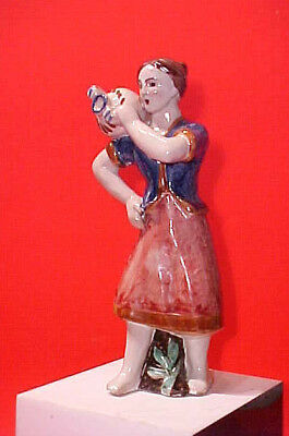 Vtg. Mid Century Gambone Italian Art Pottery Figure Of A Maiden Rare 'fish' Mark