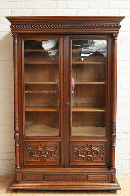 Antique French Renaissance Henry II Style Walnut 2 Door Bookcase Cabinet